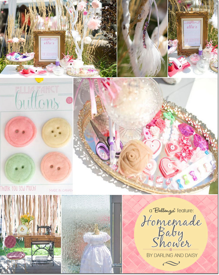 Sewing theme baby shower with vintage decorations, favors, and treats