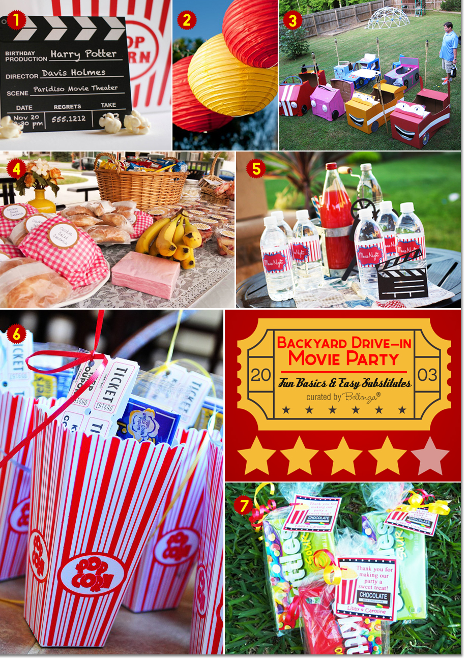 Ordinaire Backyard Movie Party Ideas With Fun Props, Popcorn, Candy, And Picnic Food.