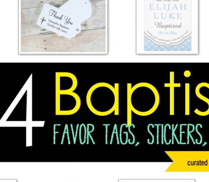 24 Baptism Favor Tags, Stickers, and Art Gifts