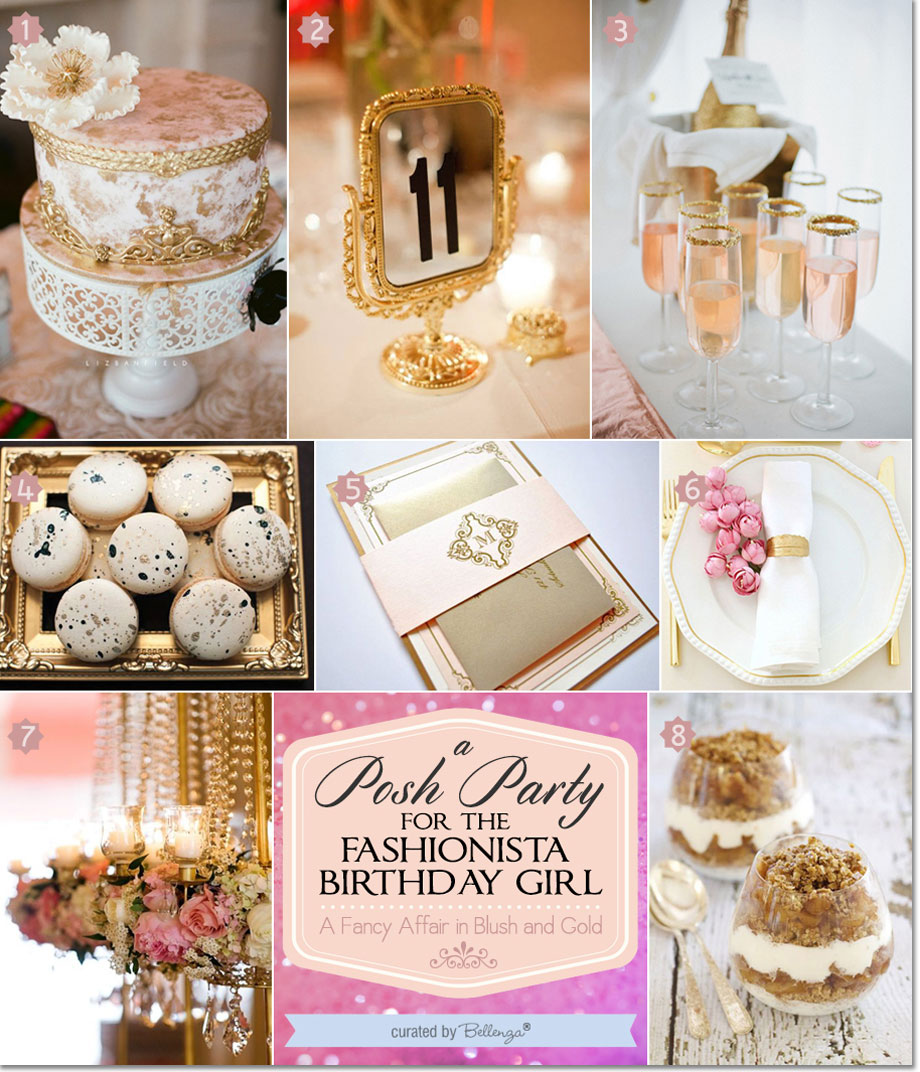 Blush and gold glamorous birthday for the fashionista girl | as featured on the Party Suite at Bellenza