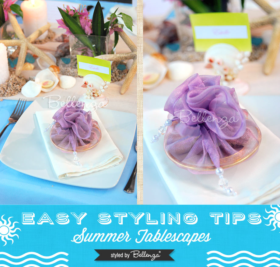 Lilac and blue beach tablescape // Easy styling tips for summer tablescapes