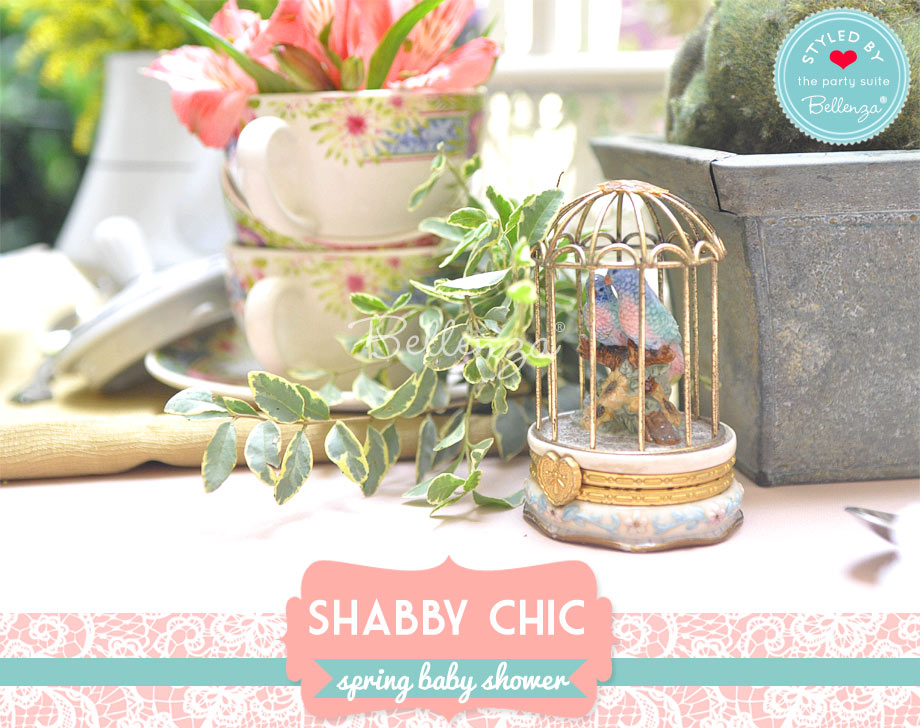 mini bird cage for a spring shabby chic tablescape