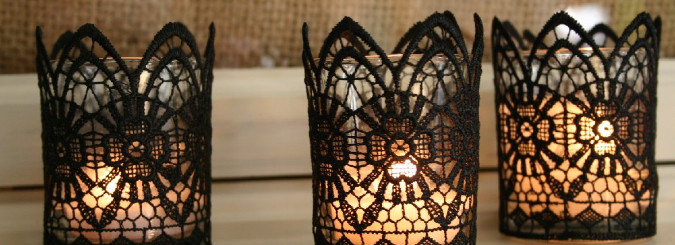 Black lace candles for Halloween