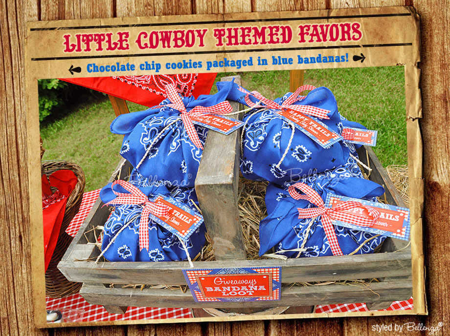 Blue bandanas with chocolate chip cookies for a cowboy themed party