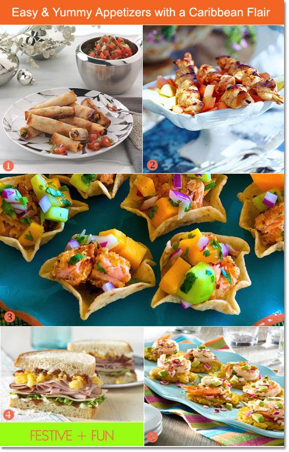 Exceptional Caribbean Christmas Party Ideas Part - 6: Caribbean Appetizers: Veggie Wraps, Shrimp Bites, Jerk Chicken Skewers