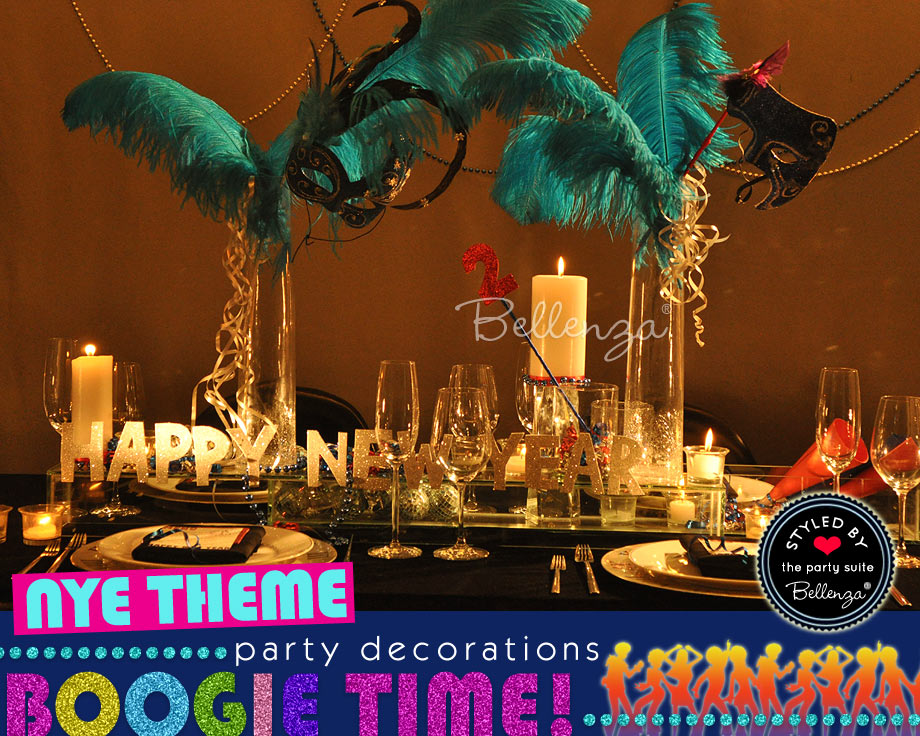 Feather centerpieces  for a NYE Disco themed party