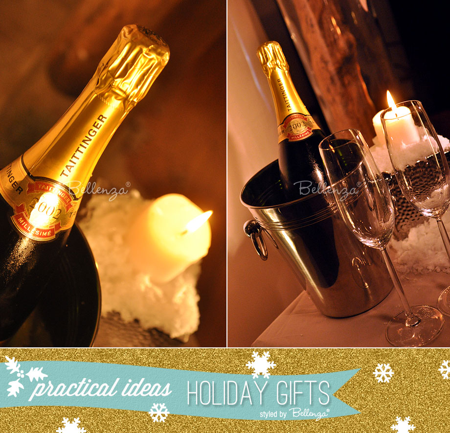 Silver bucket of champagne with flutes as practical Christmas gifts