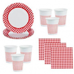 2 - Red Gingham Party/Picnic Supplies