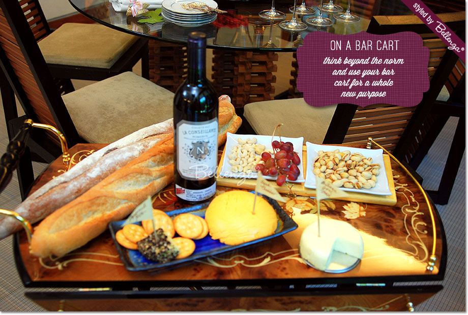 Wine and cheese bar cart for Christmas by Bellenza.