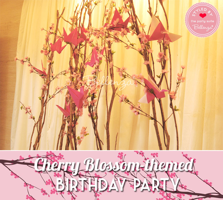 Faux decorations for Cherry Blossom birthday