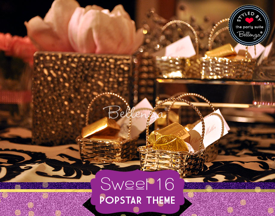 "silver baskets filled with chocolate ""nuggets,"" gold-wrapped chocolate coins or chocolate balls."