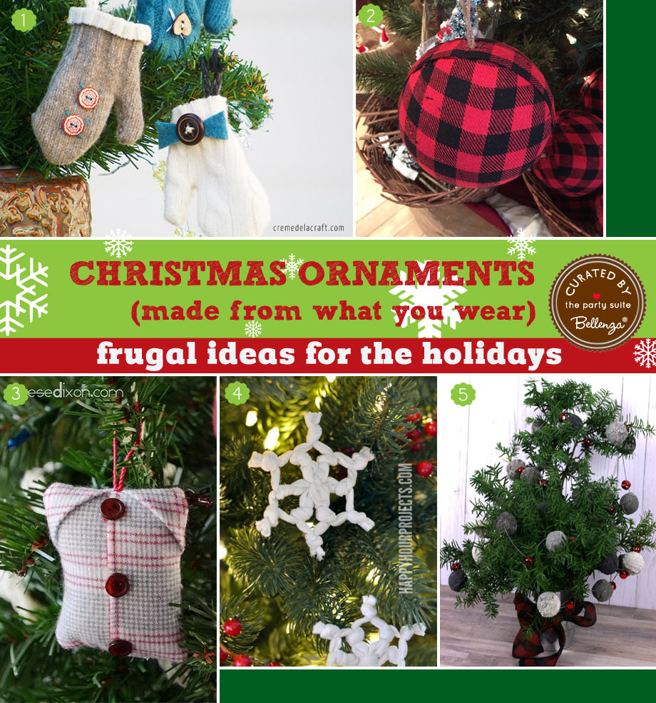 Make CHristmas Tree Ornaments from Old Sweaters, Mittens, Flannel Shirts