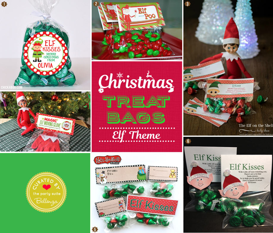 Homemade Christmas Elf kisses treat and goody bags for kids