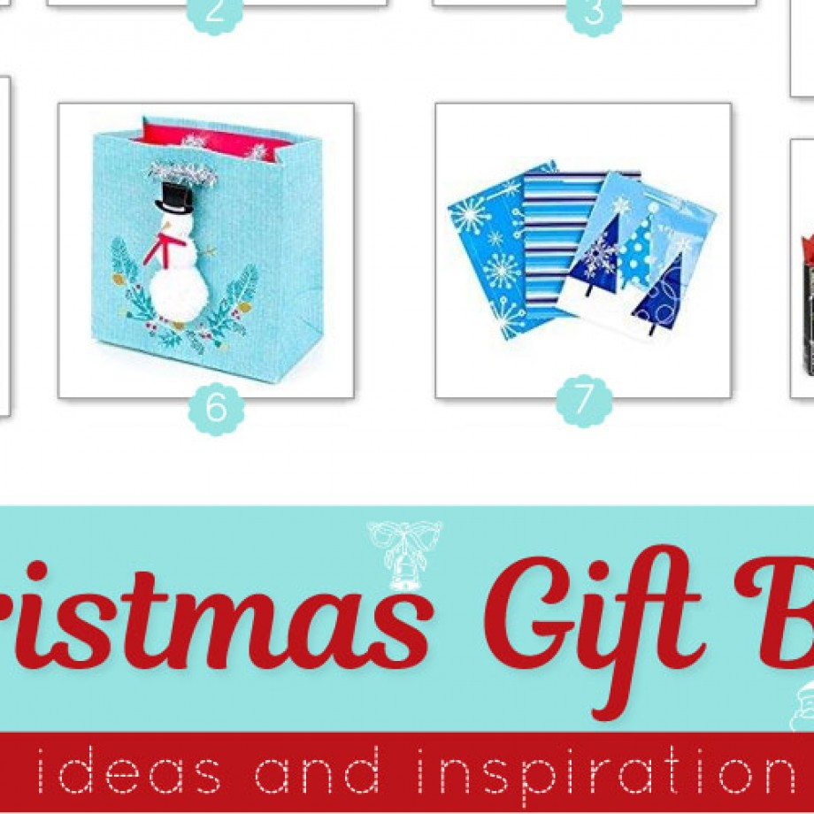 Holiday gift bags in an assortment of colors and designs from chalkboard to blue to Nordic.