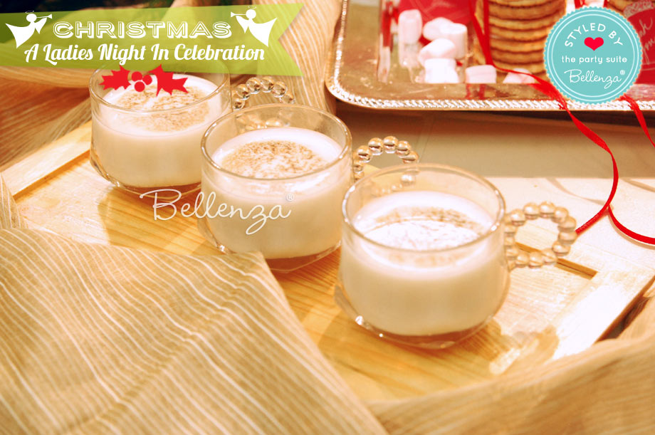 Christmas eggnog in clear cups