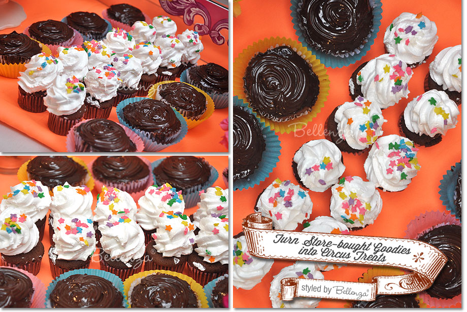 Assorted cupcakes like chocolate and sugar sprinkles for a circus themed candy table