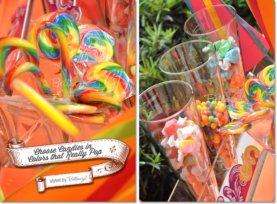 Lollipop swirls in rainbow colors and taffy candies