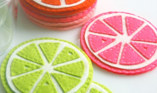 Citrus Felt Coasters by Purl Bee