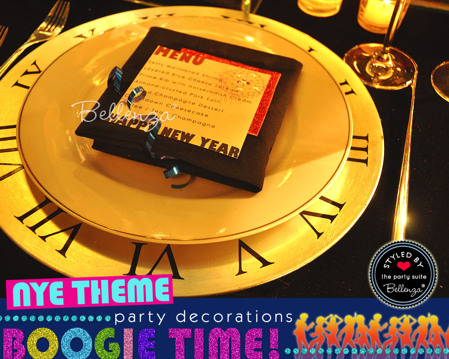Gold plate charger clock with roman numerals and menu card for a Disco NYE party