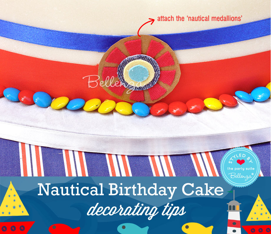 Decorate with colored-candies to the sailor themed cake