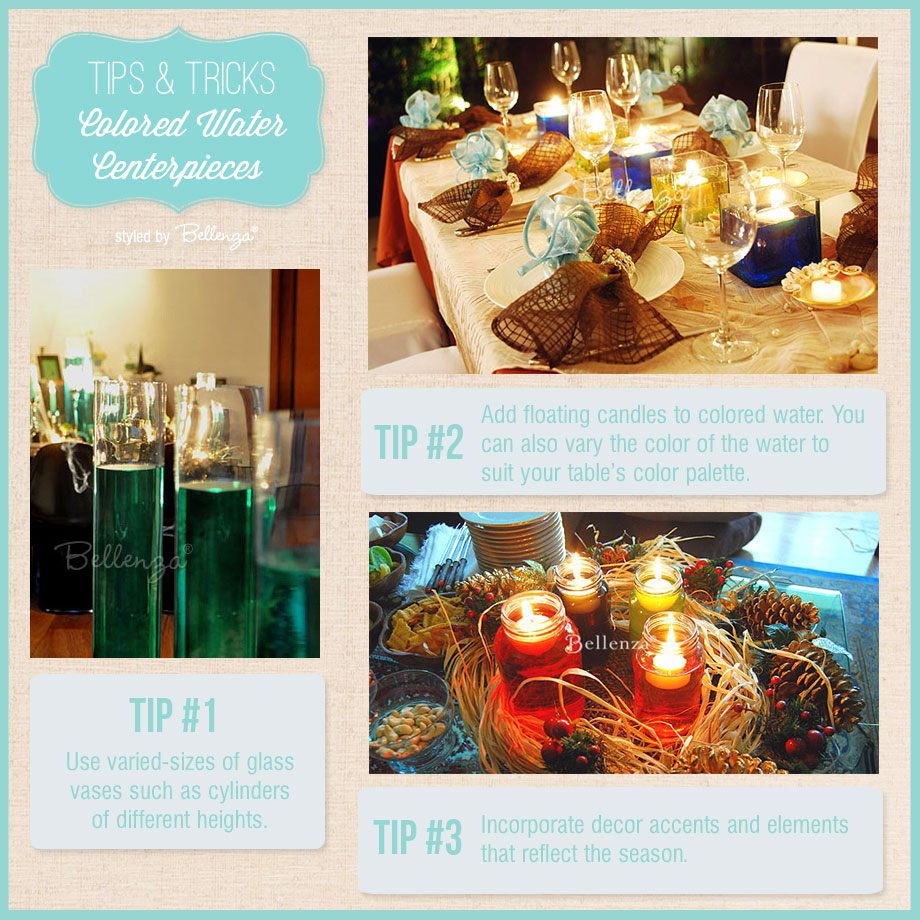 Simple tips for creating colored water centerpieces | as styled by Bellenza. #candlecenterpieces #coloredwatercenterpieces