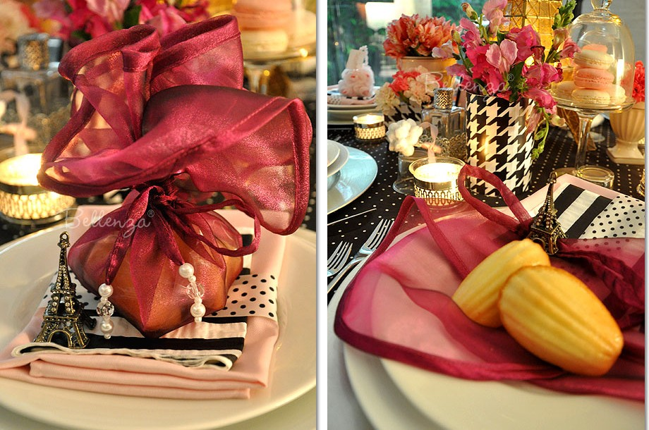 """#9 Madeleine cookies in sheer organza rounds for a Sweet 16 Parisian party. Available at Bellenza in 12"""" or 17"""" inch wraps."""