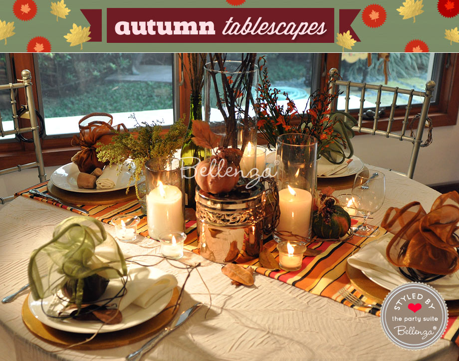 Rustic chic with copper touches for a fall table setting.