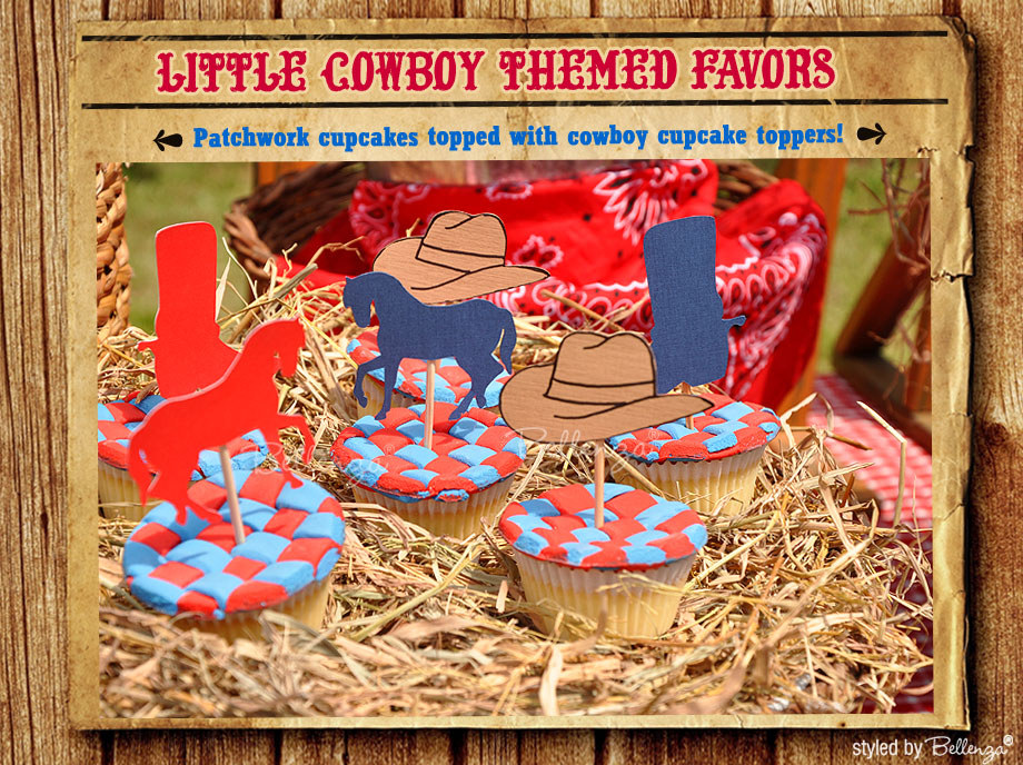 Cowboy cupcakes with red and blue patchwork for a cowboy themed party