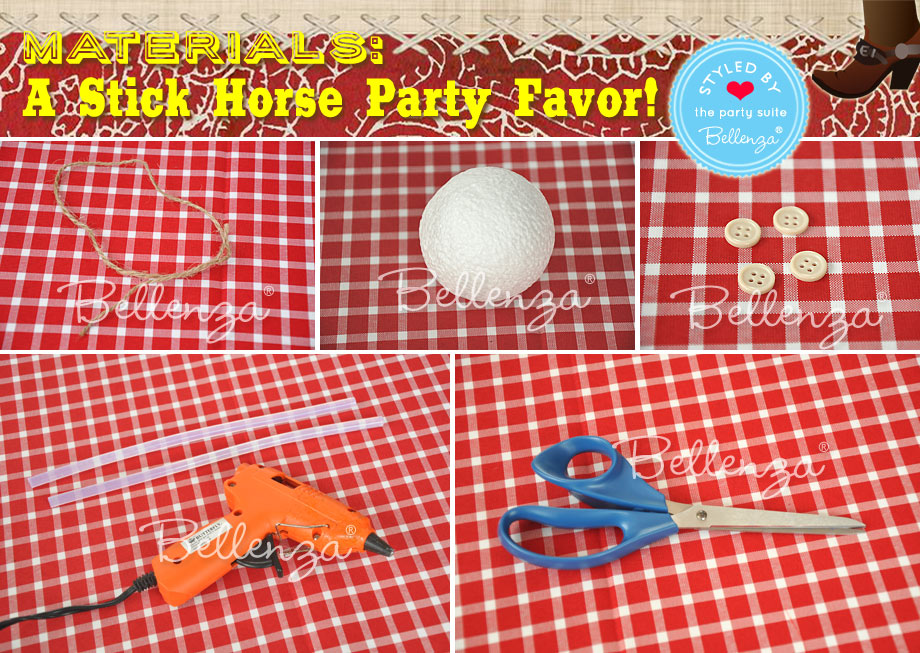 Stick horse party favors for Western Cowboy Themed Birthday Materials for a Stick Horse
