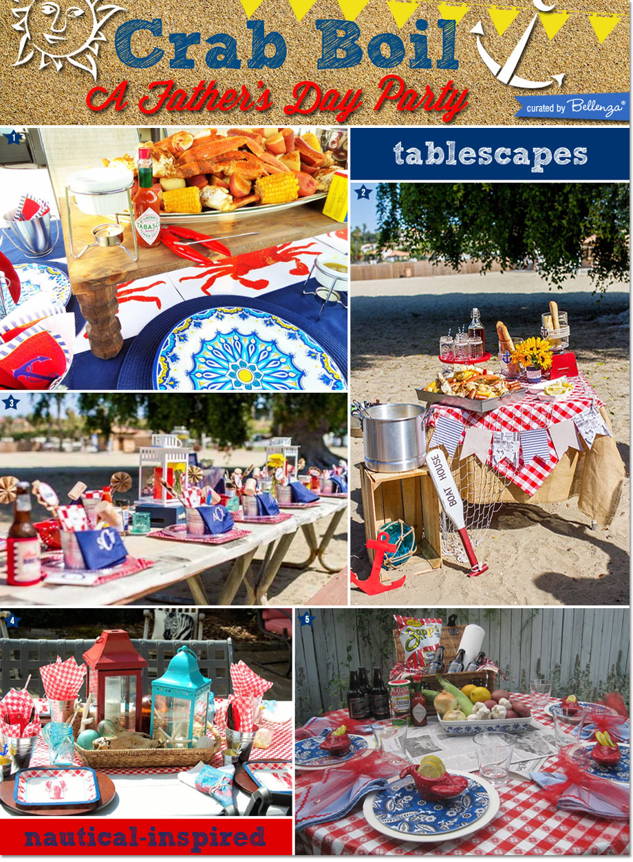 Crab Cookout Table Setting and Food Station Ideas