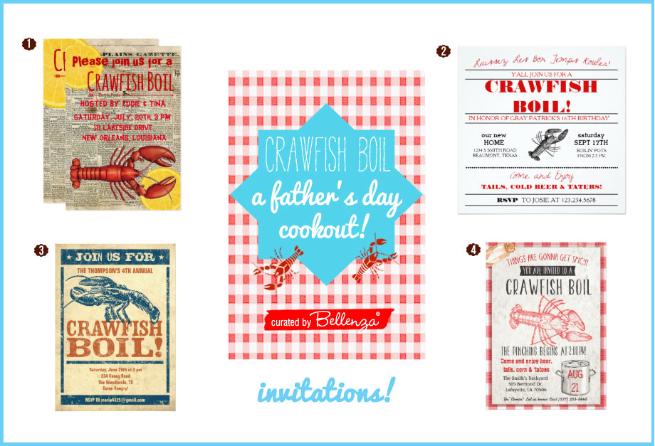 crawfish boil for fathers day invitations