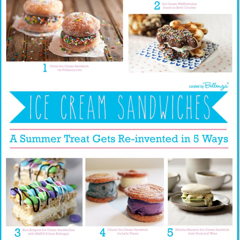 These 5 re-invented ice cream sandwiches use doughnuts, macarons, waffles, churros, and Rice Krispies // featured on the Party Suite at Bellenza.