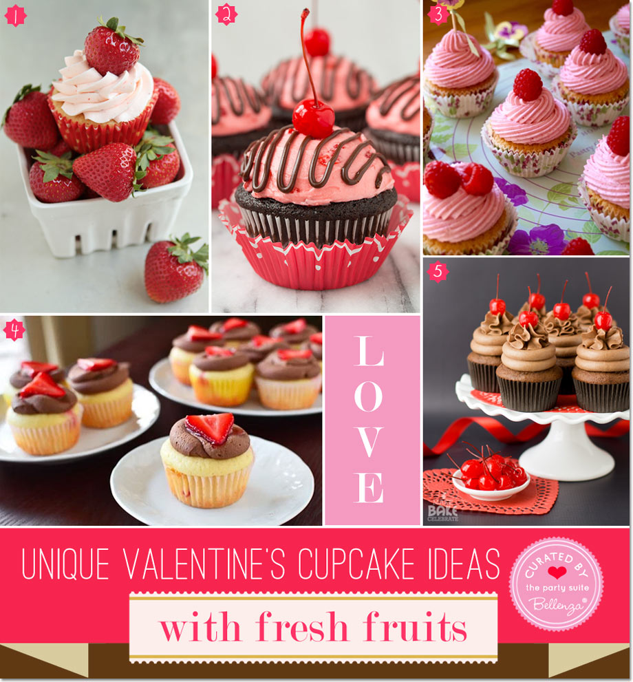Cupcakes With Fresh Fruits Like Cherries And Strawberries
