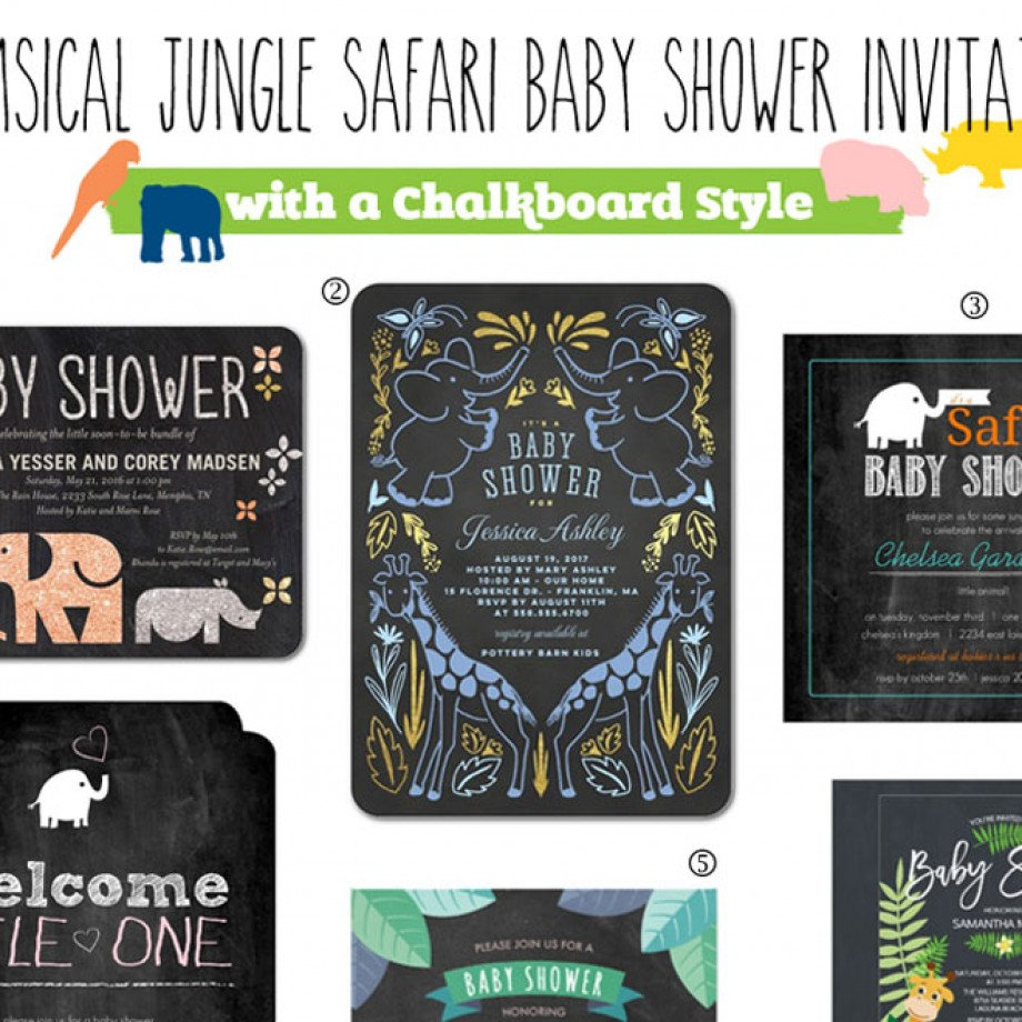 Jungle safari baby shower invites imprinted with jungle animals like giraffes, elephants, rhinos, zebras, and monkeys.