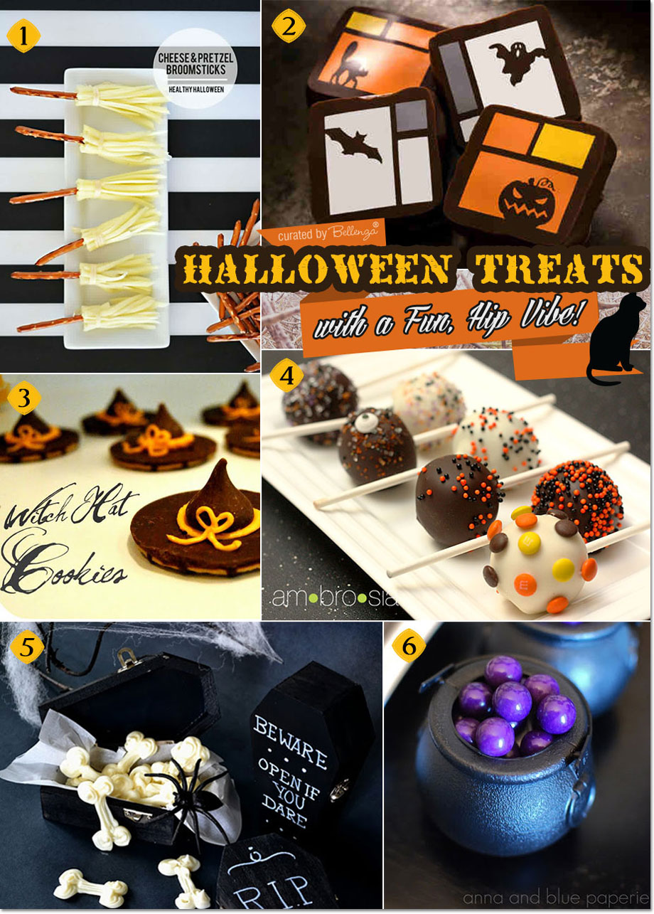 Halloween treats that are a cute and spooky from cake pops to chocolate balls to pretzel broomsticks.