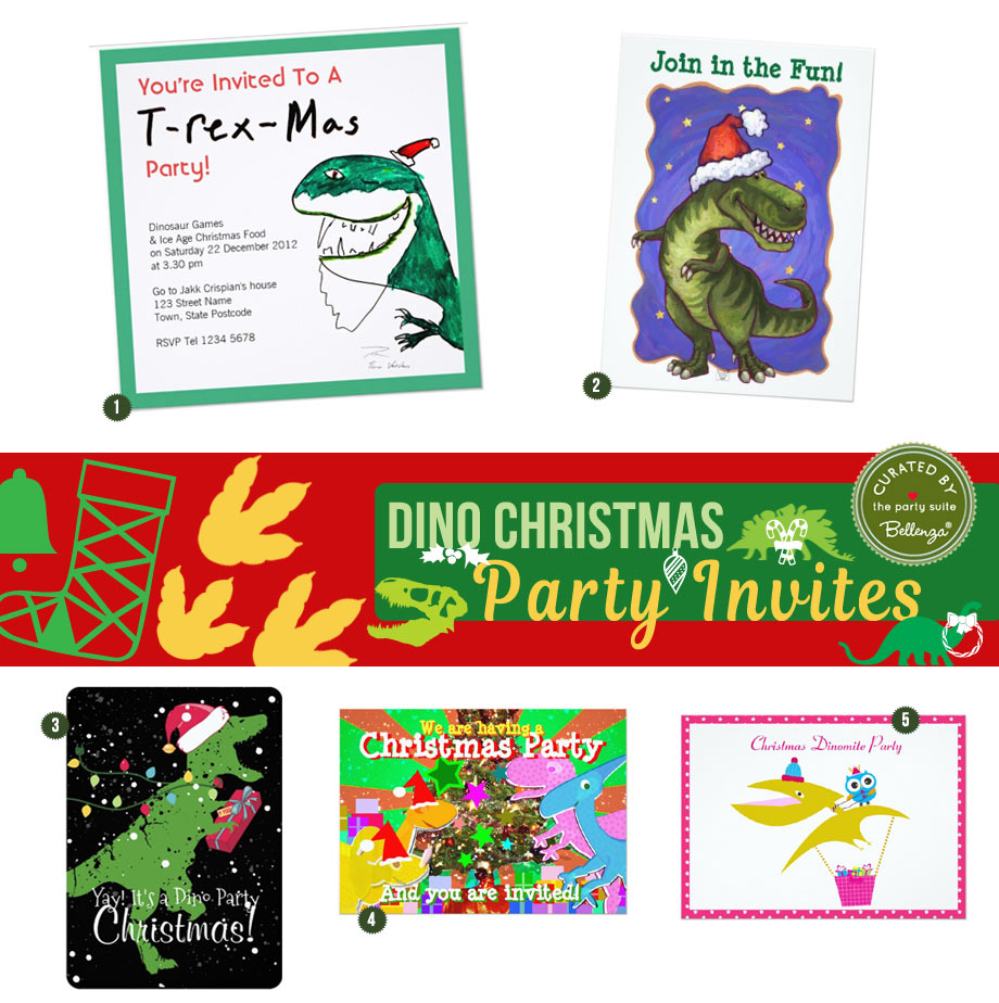 Dinosaur Christmas Party Invitations
