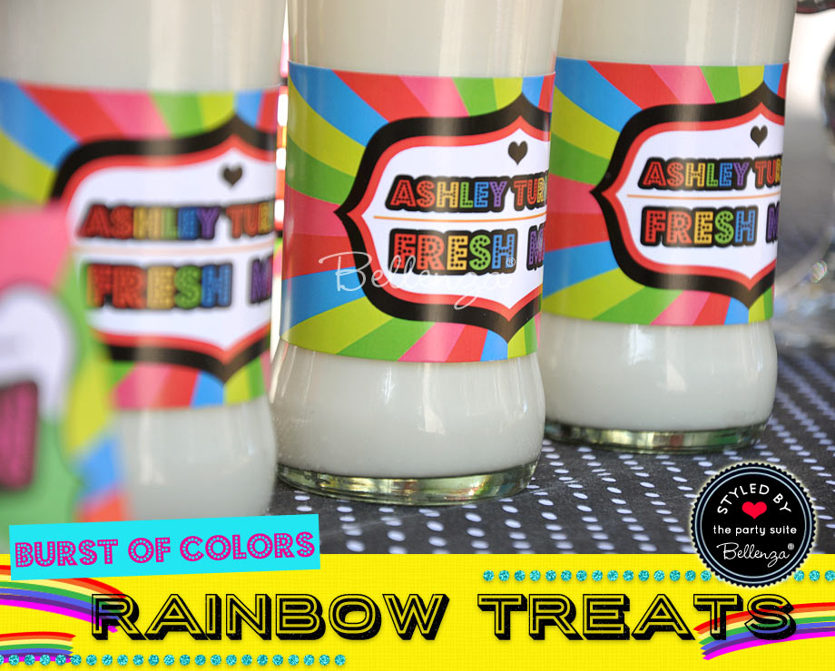 Milk in bottles with rainbow labels