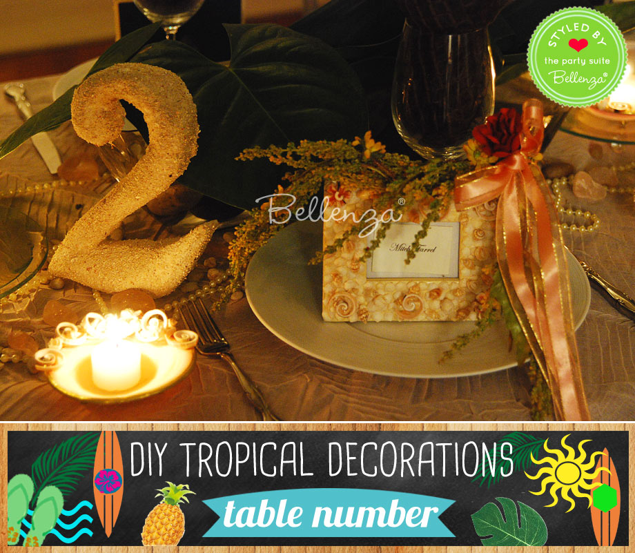 Sand covered table number