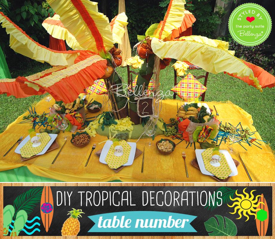 DIY coconut tree table centerpiece