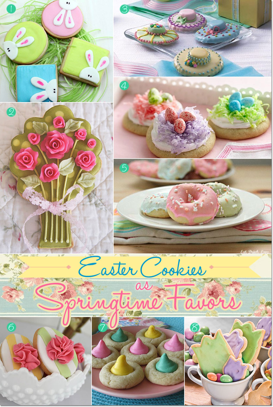 Easter cookies with cute designs and colors. Features bonnet to tulip to Italian Easter cookies.