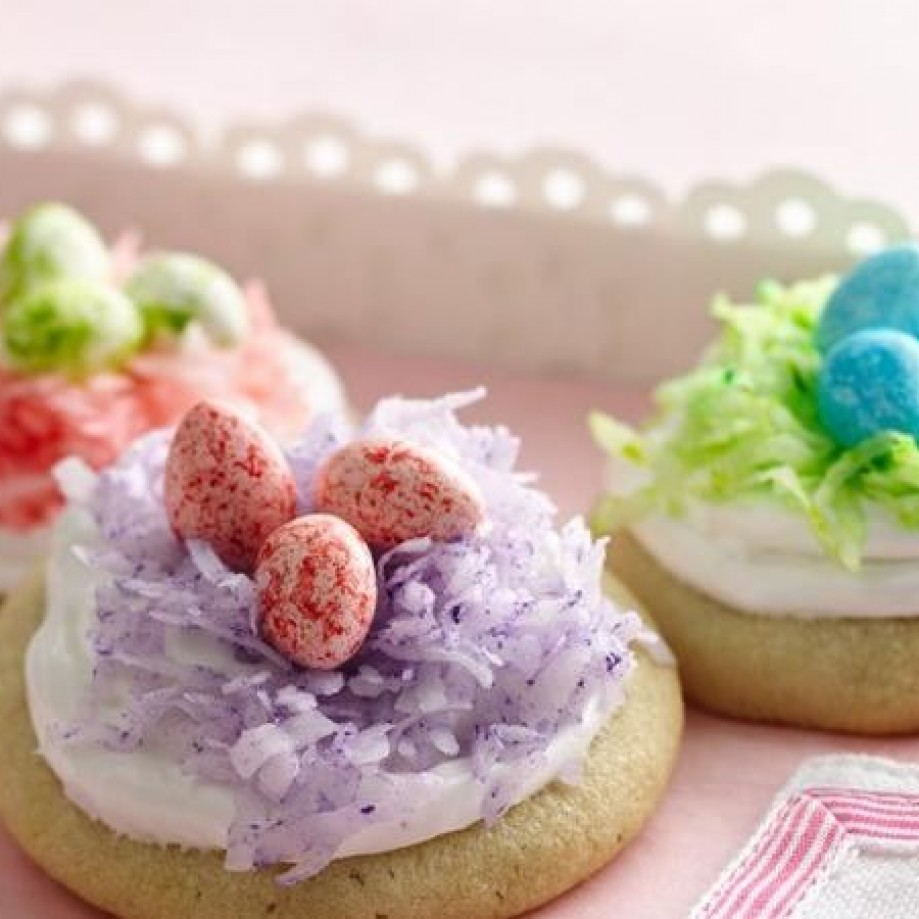 Easter nest cookies in pink, blue, and green. Photo by Betty Crocker.