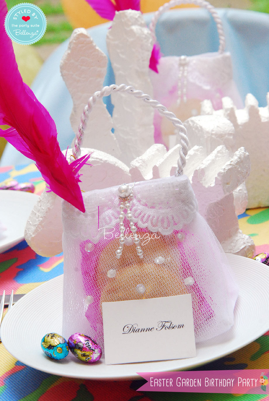 Place Settings with Easter Birthday Party Favors