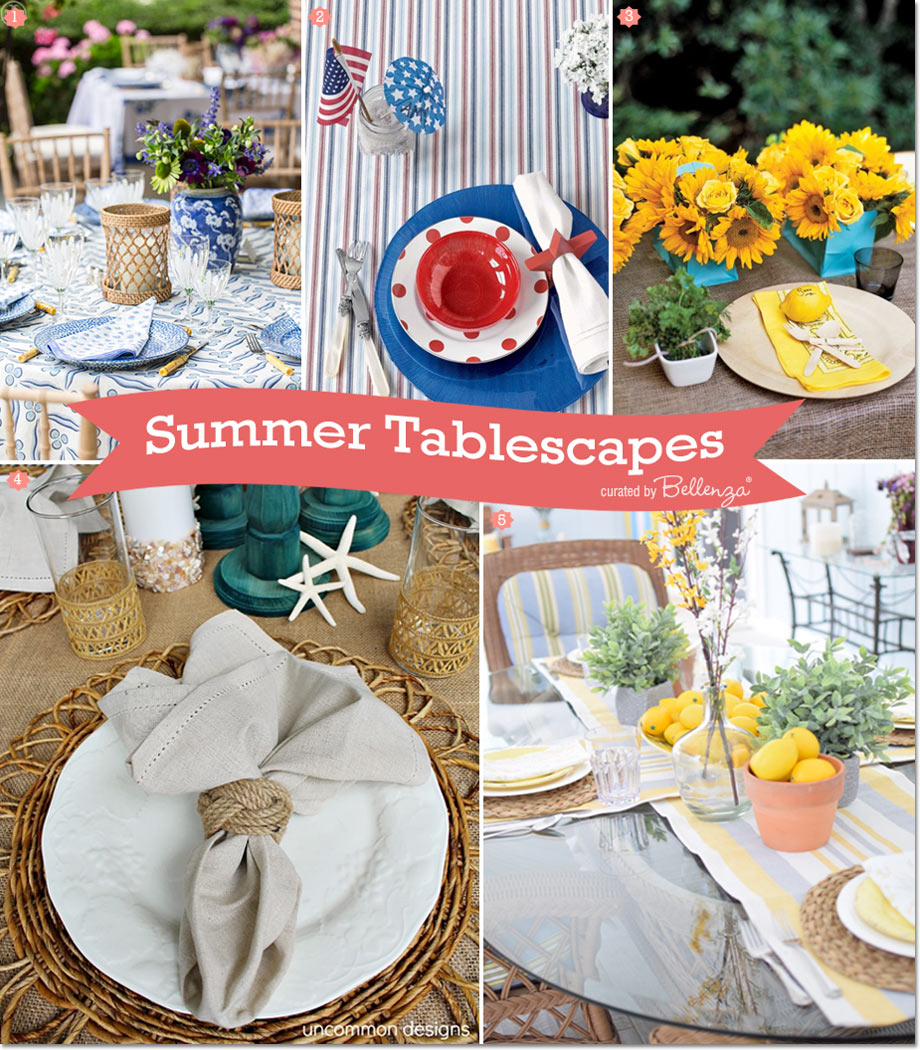 Easy styling tips for summer tablescapes curated by Bellenza.