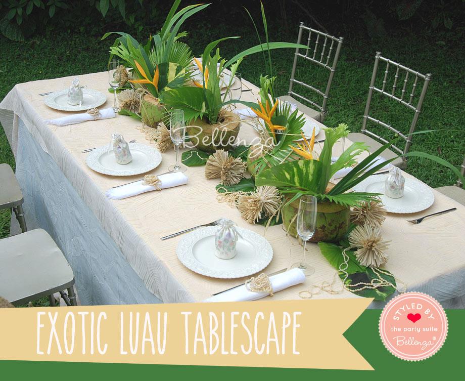 Hawaiian green tablescape
