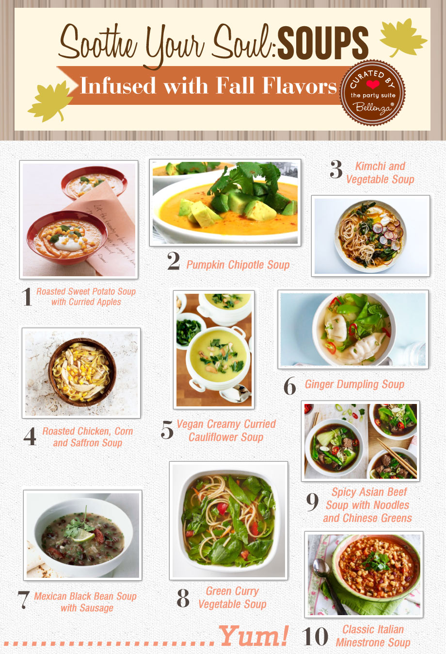 Heartyy fall soups to soothe the soul from ginger dumpling to minestrone soup.