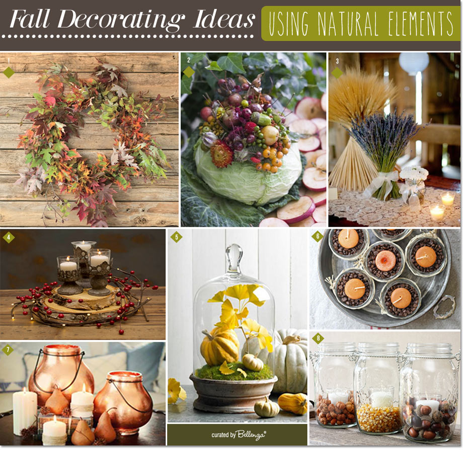Natural fall elements for decorating your home parties