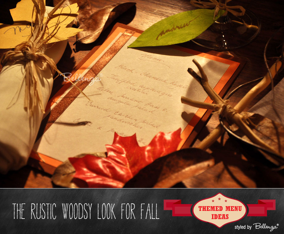 The Rustic Woodsy Look for a Fall Menu Card