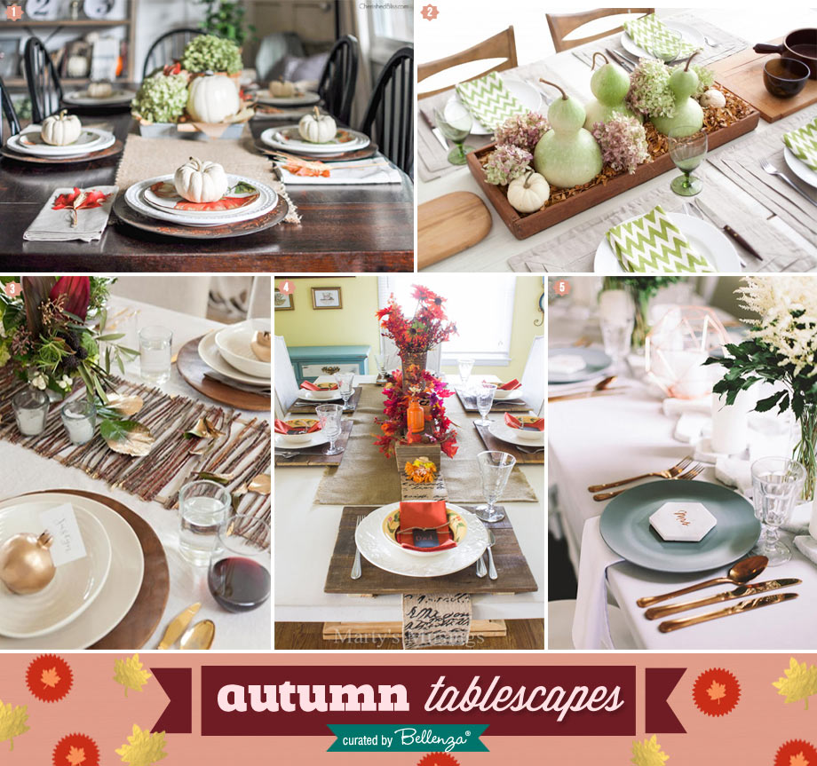 Autumn tablescapes from rustic to modern.