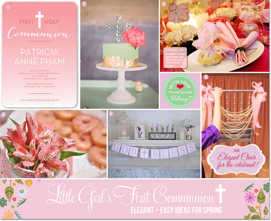 Decorating Ideas for a First Communion Party in Pink and Green