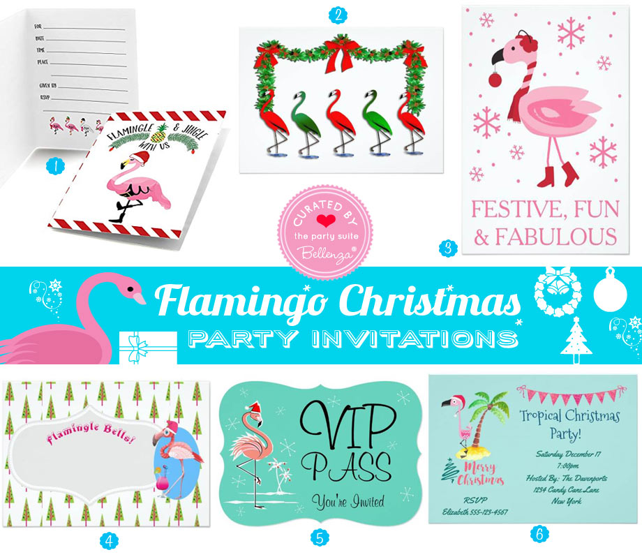 Flamingo themed Christmas Party Invitations